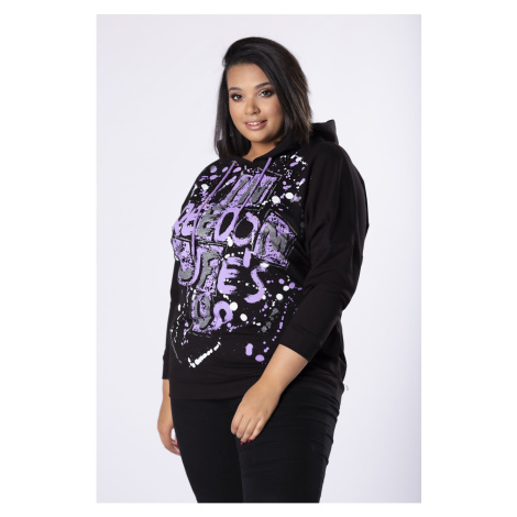 hoodie with glitter print on the bust