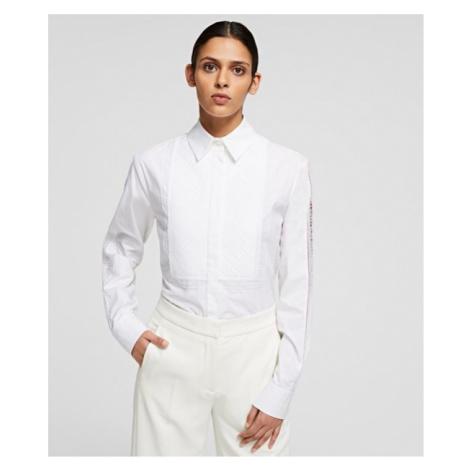 Košile Karl Lagerfeld Shirt W/ Embroidered Logo Tape - Bílá