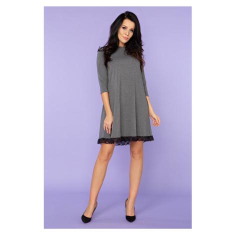 Trapézové dámské Šaty s krajkou midi délka 34 rukáv bavlna
