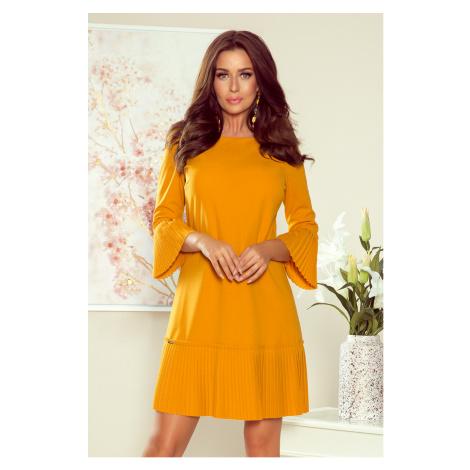 Pohodlné plisované dámské šaty v hořčicové barvě model 7771171 NUMOCO