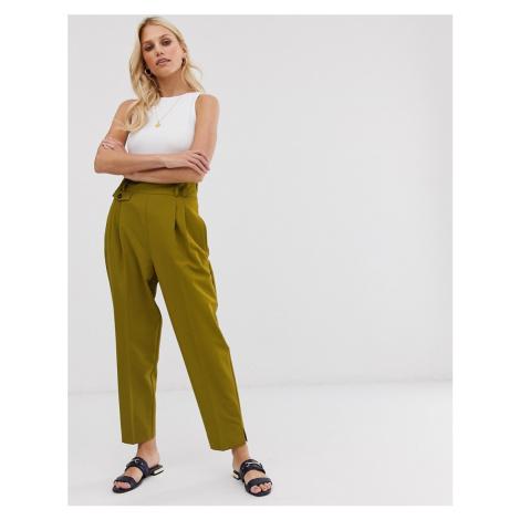 ASOS DESIGN tailored smart high waist balloon trousers-Green
