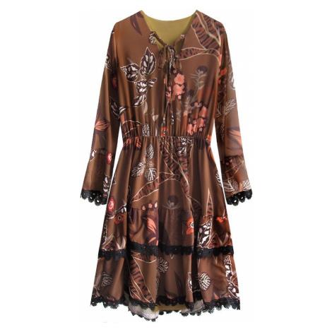 Hnědé šifonové šaty s volánky (452ART) hnědá ONE SIZE Made in Italy