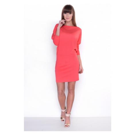 Šaty s netopýřími rukávy barva korálová Oxyd