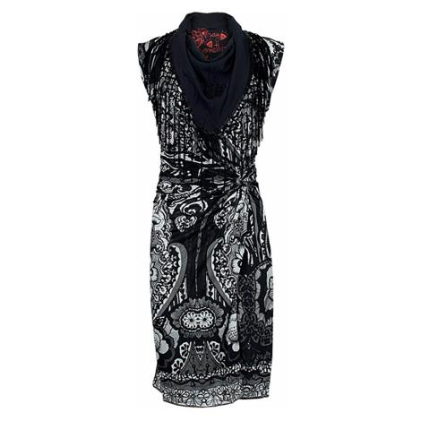 Černé vzorované šaty s třásněmi Desigual