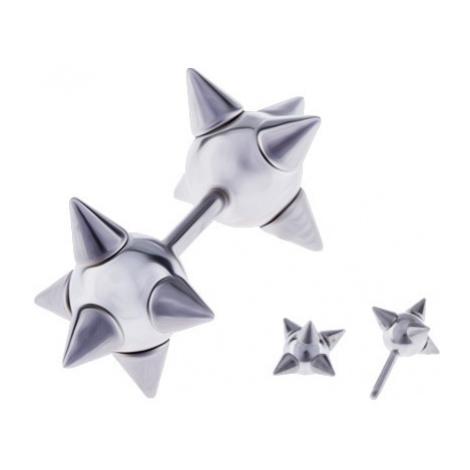 Ocelový fake piercing do ucha - kuličky s ostny Šperky eshop