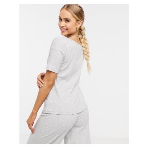 ASOS DESIGN mix & match off shoulder rib pyjama tee in grey