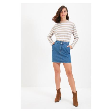 Trendyol Blue Double Button Detailed Denim Skirt