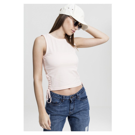 Ladies Lace Up Cropped Top - pink Urban Classics