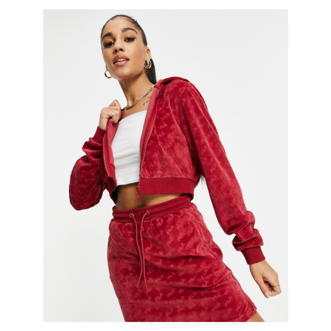 Fila velour all over print cropped zip through hoodie in red