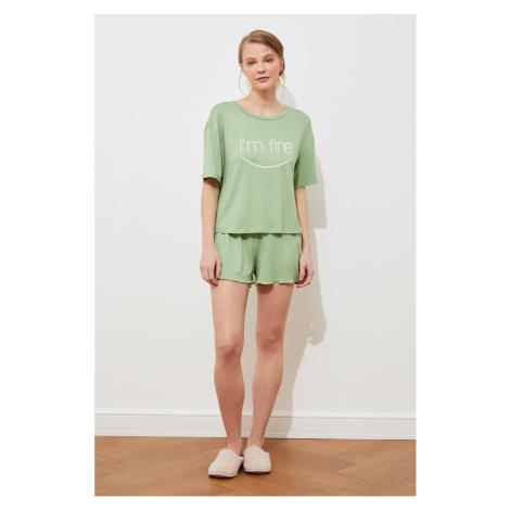 Trendyol Light Green Printed Knitted Pajamas Set