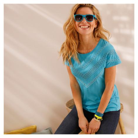 Blancheporte Jednobarevné tričko s macramé tyrkysová
