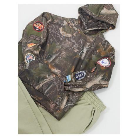 Jaded London hoodie with badges in woodland print-Brown
