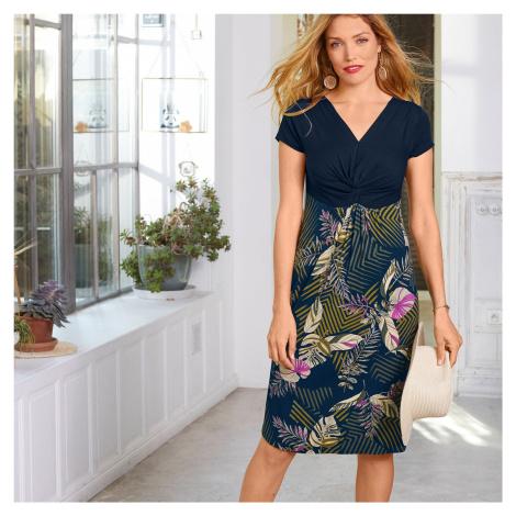 Blancheporte Krátké šaty s krátkými rukávy a potiskem nám.modrá/khaki