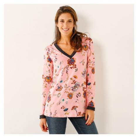 Tričko s potiskem květin květy růžová