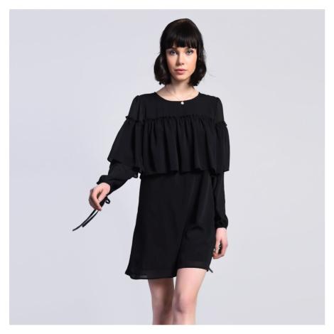 Černé šaty s volánem Glamorous