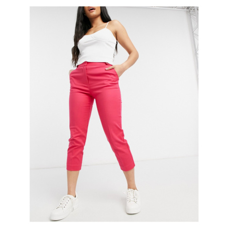 Oasis compact cotton capri trousers in bright pink
