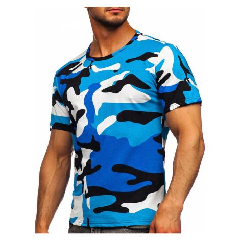 Tyrkysové pánské bavlněné maskáčové tričko s potiskem Bolf 14930