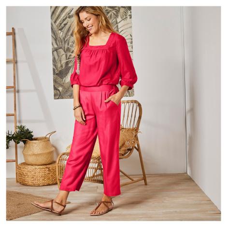 Blancheporte Jednobarevné 3/4 kalhoty červená