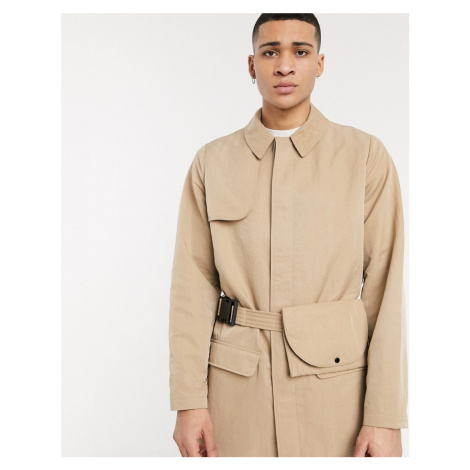 ASOS DESIGN single breasted trench coat with bag belt in stone-Beige