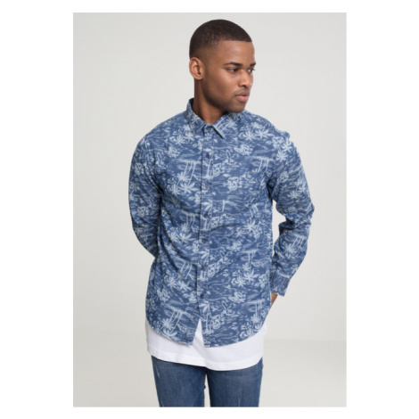 Urban Classics Printed Palm Denim Shirt light blue wash