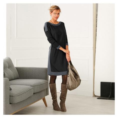 Blancheporte Pletené šaty s lodičkovým výstřihem černá