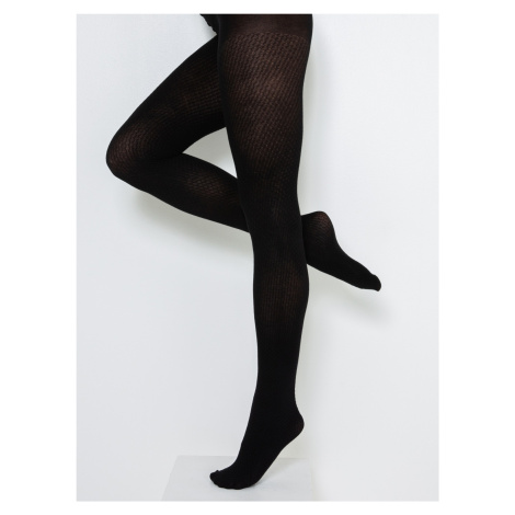 Černé vzorované punčochové kalhoty CAMAIEU Camaïeu