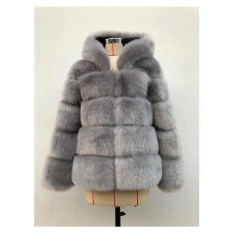 Módní krátký kožich chlupatý zimní kabát s kapucí a dlouhým rukávem