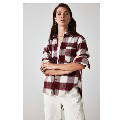 Trendyol Burgundy Plaid Shirt
