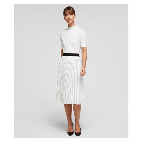 Sukně Karl Lagerfeld Pleated Skirt W/ Logo - Bílá