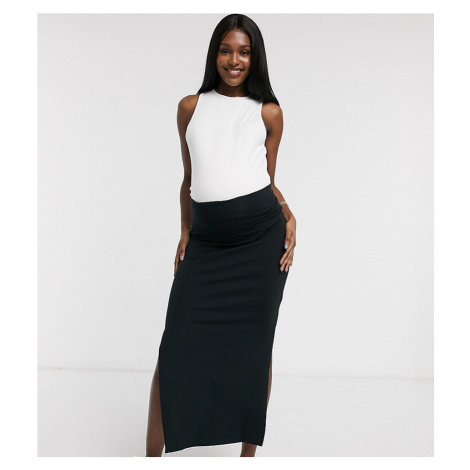Mamalicious maternity organic tube maxi skirt-Black Mama Licious