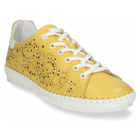 Dámská kožená žlutá obuv s perforací Baťa