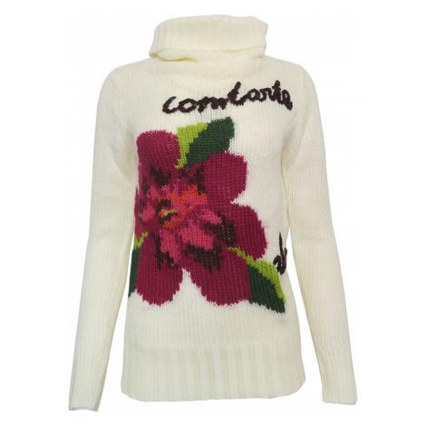 Bílý svetr s barevným květem Desigual