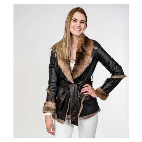 Hnědý kožený kabát - JOHN YOKO