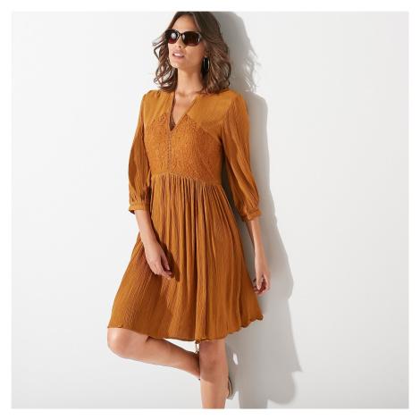 Blancheporte Šaty s krajkovými detaily karamelová