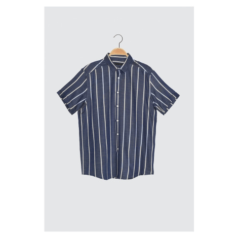 Trendyol Indigo Men's Regular Fit Shirt Collar Short Sleeve Striped Shirt