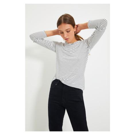 Trendyol White Striped Basic Long Sleeve Knitted Knitted T-Shirt