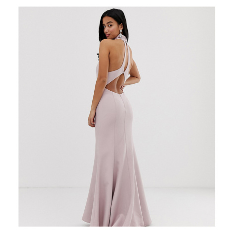 Jarlo Petite high neck trophy maxi dress with open back detail in pink
