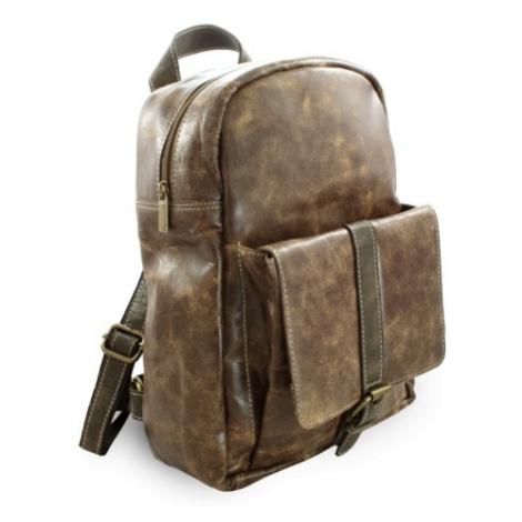 Hnědý kožený praktický batoh Fridlie Arwel