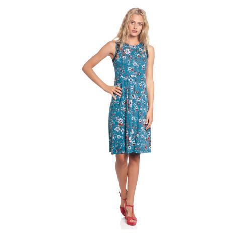 Letní květinové šaty bez rukávů modré Vive Maria