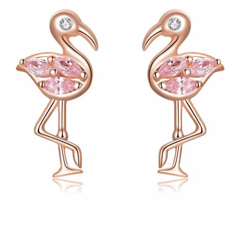 Linda's Jewelry Stříbrné náušnice Zlatý Plameňák pecky Ag 925/1000 IN224