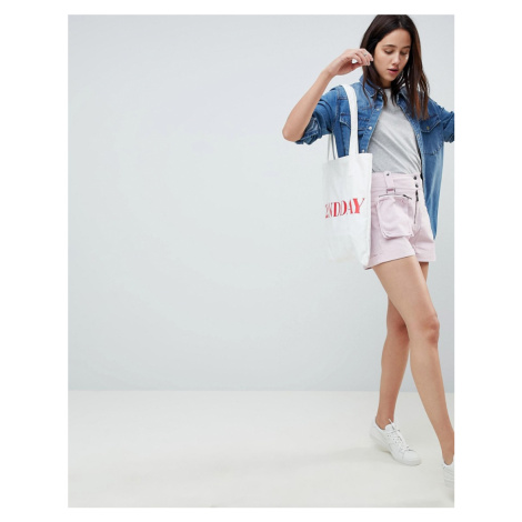 ASOS DESIGN Shorts With Detachable Bum Bag - Pink