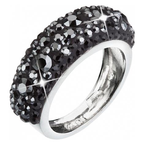 Stříbrný prsten s krystaly Swarovski černý 35031.5
