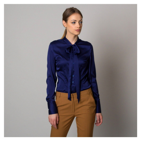 Dámská košile tmavě modré barvy s dlouhou mašlí 12524 Willsoor