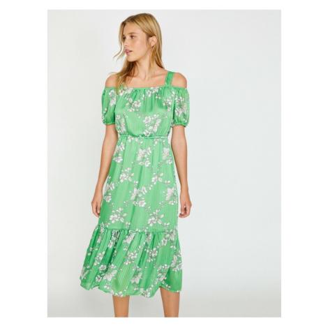 Koton Women's Green Mini Ruffle Detail Dress