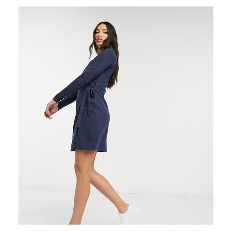 ASOS DESIGN Tall super soft mini wrap dress in dark blue-Navy
