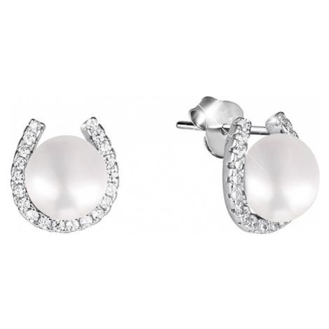 JwL Luxury Pearls Stříbrné náušnice podkova s pravou perlou a zirkony JL0585