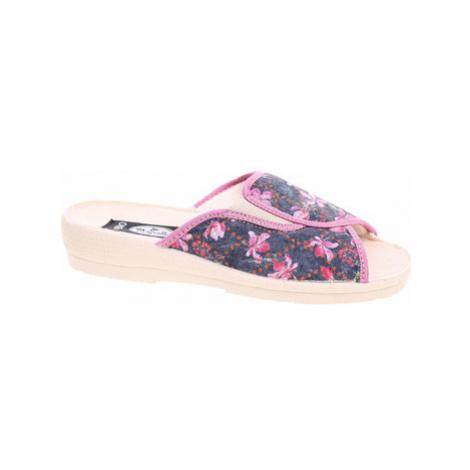 Rejnok Dovoz Dámské domácí pantofle Rogallo 7101-018 květy Modrá