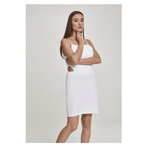 Ladies Short Spaghetti Pique Dress - white Urban Classics