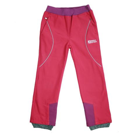 Dívčí softshellové kalhoty, zateplené - Wolf B2092, růžová sytě