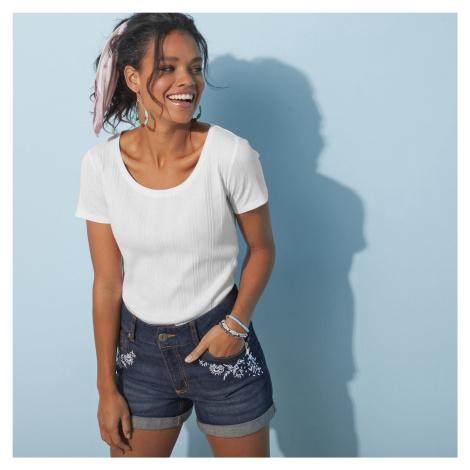 Blancheporte Žebrované tričko bílá